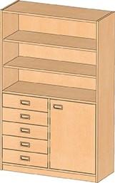 Regal mit Unterschrank und Schubladen