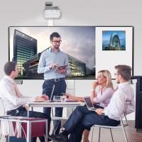 XL-Pylonensystem zur Wandmontage mit Bodenplatte, Stiftbedienbar (Ohne Projektor)