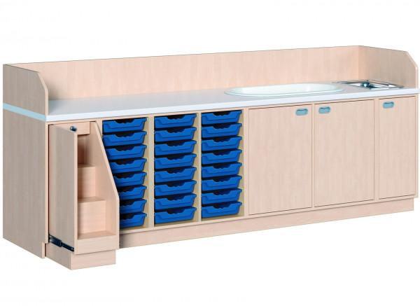 Wickelkommode mit 24 Boxen + Waschbecken + Badewanne