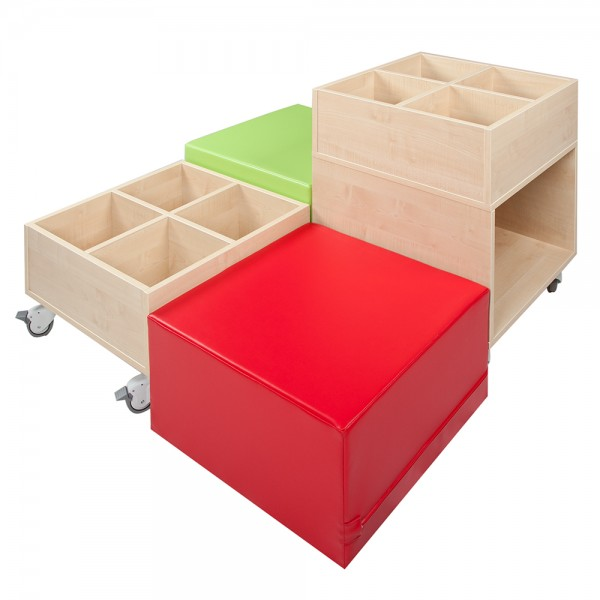 """""""Cube Bücherinsel L"""" - 2 Hocker und Kisten im Set"""