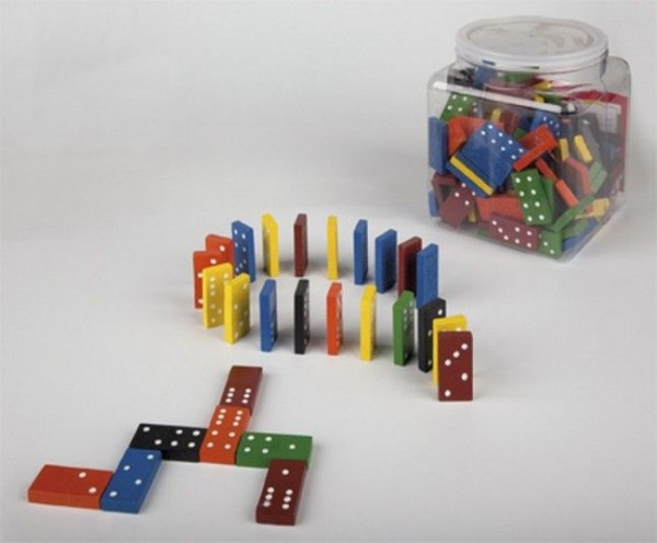 Sechser-Domino-Set im Kunststoffeimer