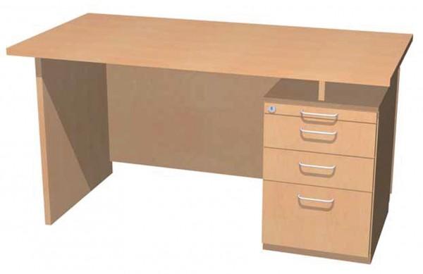Schreibtisch mit Unterbau, Materialauszug und 3 Schüben