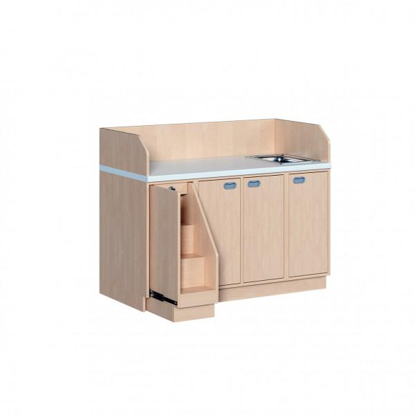 Wickelkommode mit Türen, 6 Einlegeböden und Waschbecken