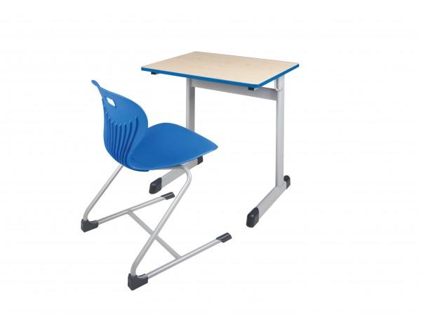 Einer-Schülertisch, feste Höhe, mit oder ohne Drahtkorbablage