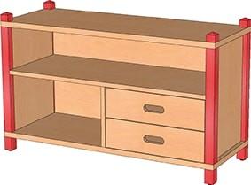 Stollen-Kommode mit Massivholzschüben und offenen Fächern