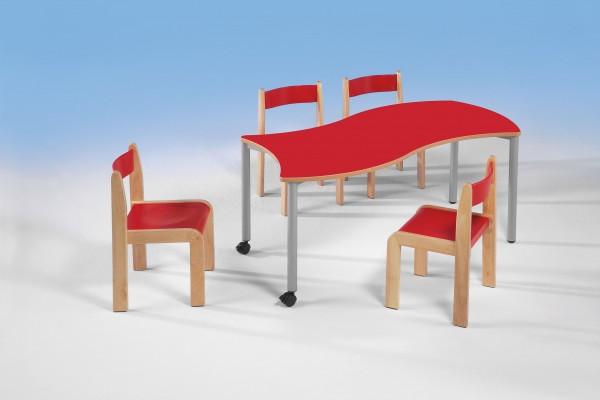 Tisch rechteckig mit Wellenkante und Rundrohrstahlgestell, 120 x 60 cm, fahrbar oder feststehend in