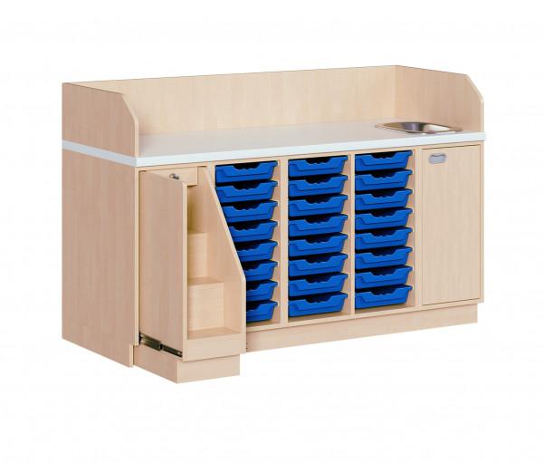 Wickelkommode mit 24 ErgoTray Boxen und Waschbecken