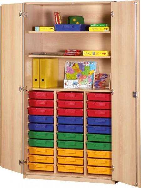 Klassenraumschrank mit Kunststoffschüben und Facheinteilung