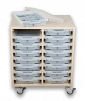 Fahrbares Sideboard mit 16 Boxen