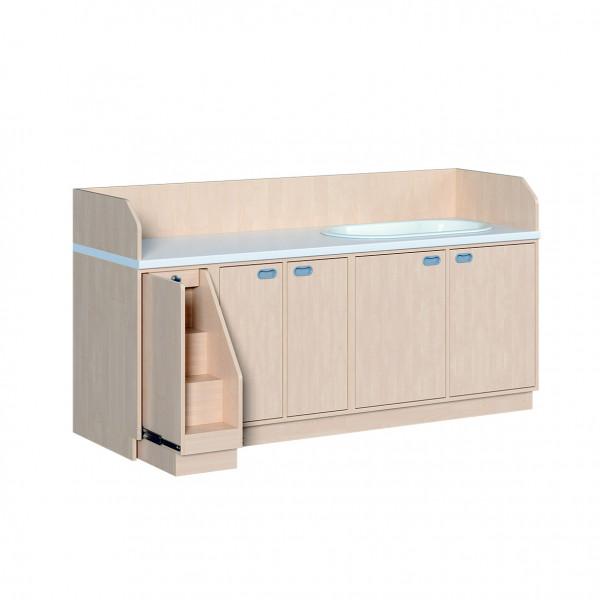 Wickelkommode mit Türen, 6 Einlegeböden und Badewanne