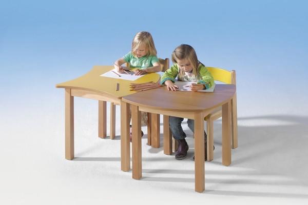 Quadrattisch mit Wellenkante und Holzgestell, 60 x 60 cm, verschiedene Höhen