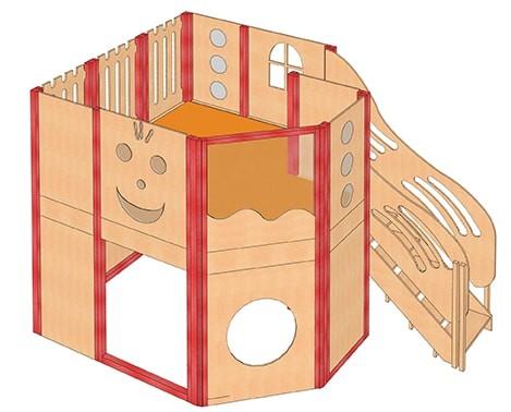 Große Spielburg mit Treppe und Sichtfenster