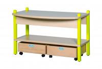 Spieltisch mit mobilen Rollkästen