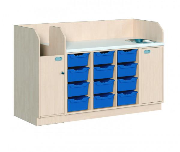 Wickelkommode mit 12 ErgoTray Boxen und Waschbecken + Aufgang