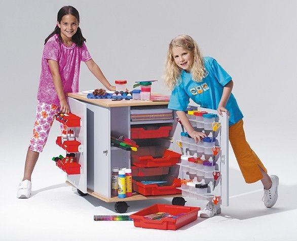 Bastelmobil mit 5 roten Kunststoffboxen