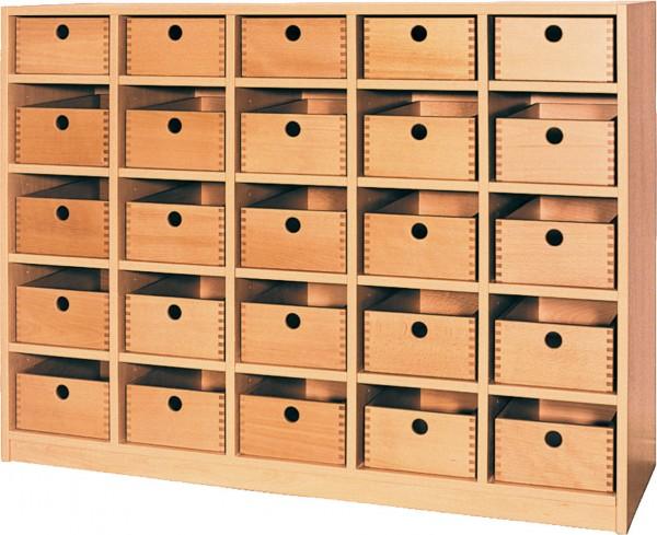 Regal mit 25 Holzschubkästen