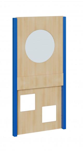 Seitenelement für kleine Spielburgen, unten 2 Quadrate, oben Kreis mit Plexiglas, verschiedene Breit