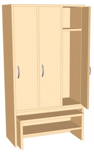Garderoben-Fächerschrank mit integrierter Sitzbank