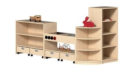 """Regal """"KAI"""" Korpusregalsystem mit Spielküche"""