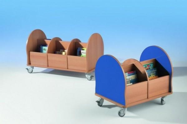 Fahrbare Bücherkiste mit 4 oder 6 Fächern