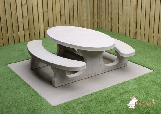 Beton Picknickset Standard Oval, Bank-Tisch Kombination
