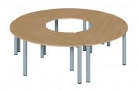 Set aus 3 Drittelkreis Tischen Ø 200 cm mit Rundrohrgestell in verschiedenen Höhe