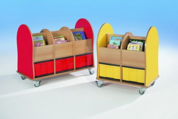 Fahrbare Bücherkiste mit 4 oder 6 Fächern und bunten Boxen