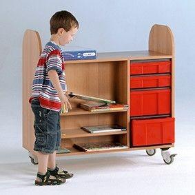 Bücher-Rollwagen mit InBoxen