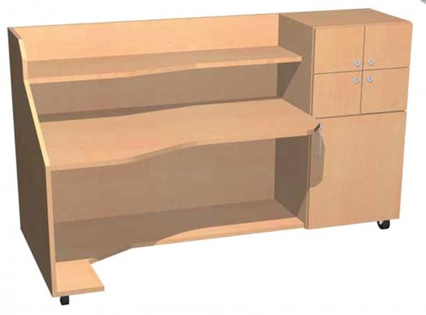 Fahrbarer Schreibtisch mit 4 abschließbaren Fächern