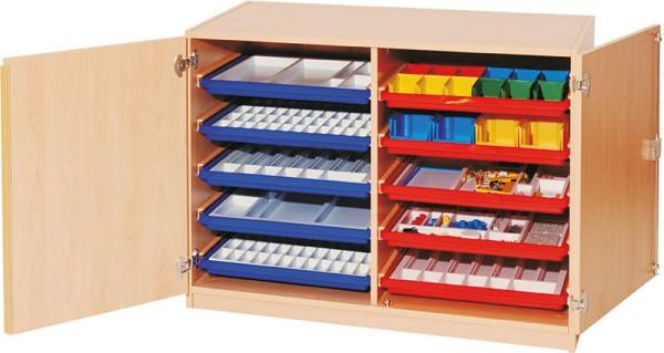 Materialcontainer mit Flachschüben