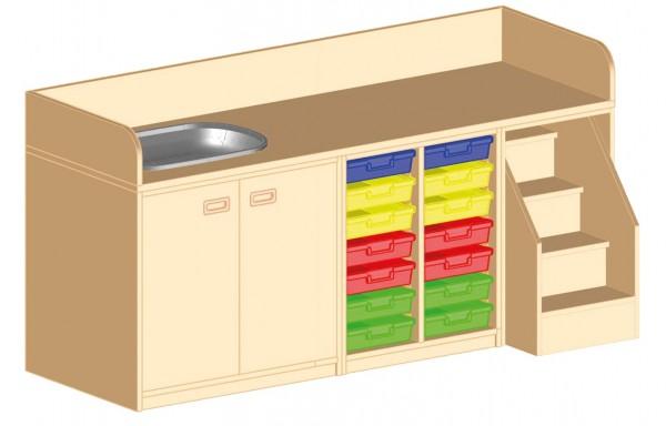 Wickelkommode mit Badebecken und Kunststoffboxen