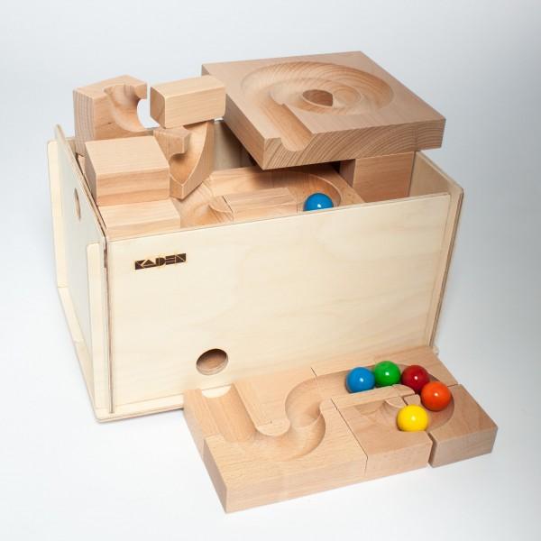 Holzkugelbahn-Mix, Größe S im Holzkasten