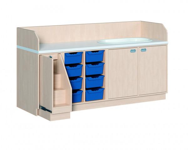 Wickelkommode mit 8 ErgoTray Boxen und Badewanne