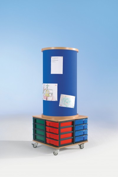 Litfaßsäule mit Kork- oder Stoffbezug & Modulboxen
