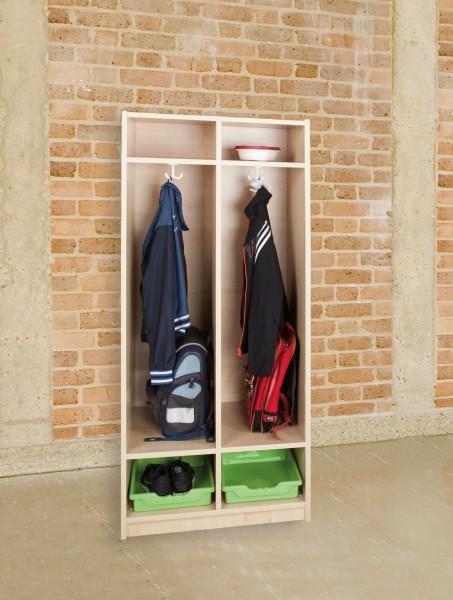 Schultaschenregal für 2 Schüler, inkl. 2 ErgoTray Boxen