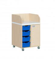 Fahrbare Wickelkommode mit 4 ErgoTray Boxen, Tür