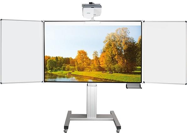 Fahrbares Whiteboard für fingerbedienbare Projektoren, elektr. höhenverstellbar