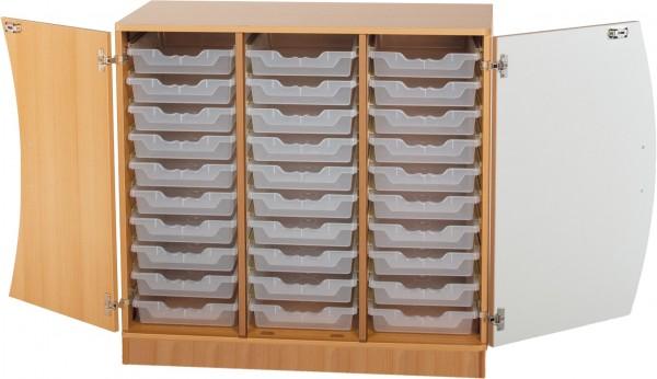 Wellentüren-Unterschrank mit Ergo Tray Boxen