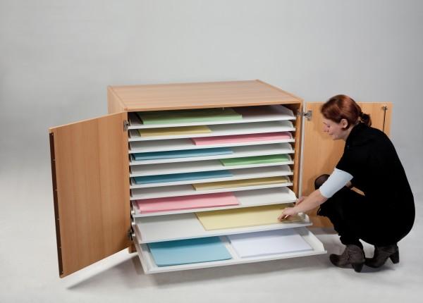 Bildertruhe mit 20 Auszügen, Papierformate bis 100 x 70 cm