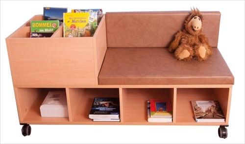 Fahrbare Bücherbank mit 4 Mulden und 4 offenen Fächern