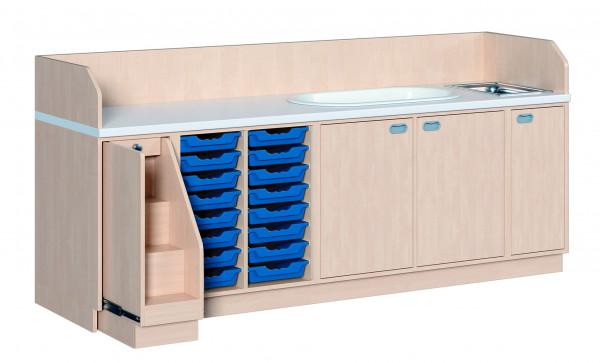 Wickelkommode mit 16 Boxen + Waschbecken + Badewanne