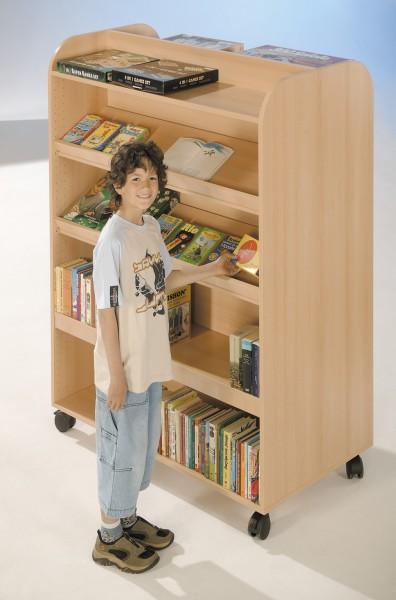 Fahrbarer Bücher & Prospektwagen mit 4 Fächern