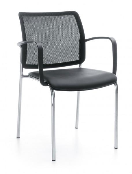 Stuhl Anabelle - Sitz Kunststoff, Rücken Netzstoff