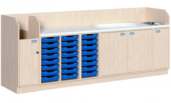 Wickelkommode mit 24 Boxen + Waschbecken + Badewanne + Aufgang