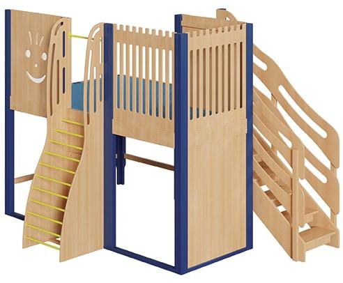 Große Spielburg mit bogenförmiger Sprossenwand und Treppe