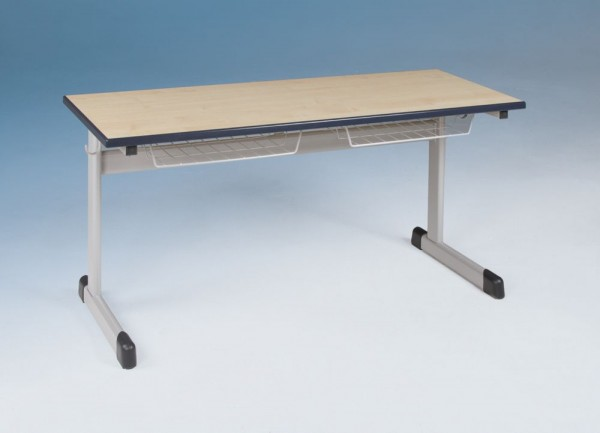 Zweier-Schülertisch mit fester Höhe, mit oder ohne Drahtkorbablage