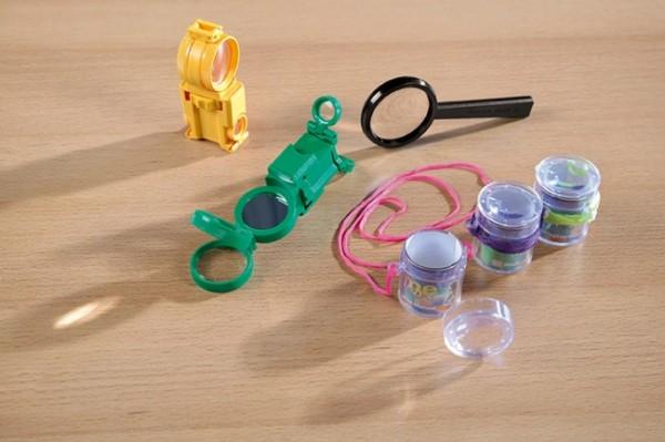 Entdecker Set mit Lupen, Kompass, Fernglas und Signalspiegel
