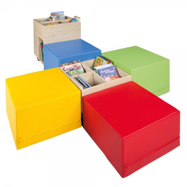 Cube Bücherinsel XL, Set aus 2 Bücherkisten und 4 XL Hockern