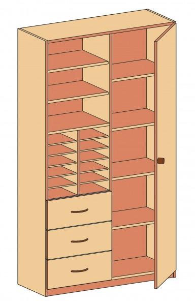 Schrank mit Schubladen, Einlegeböden und verschließbarer Tür