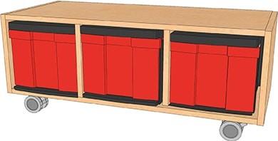 Fahrbarer InBox-Schrank mit verschiedenen Ausführungen